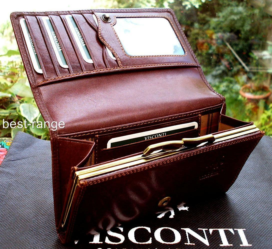 Ladies Purse Wallet Real Leather Vintage Brown In Gift Box Visconti Mz12