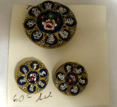 Vintage Italian Floral Micro Mosaic Pin and Clip Back Earrings 3 piece Set Italian Set Earrings