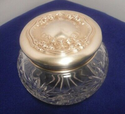 Vintage Thick Glass Powder Dish Container With a Silver Lid