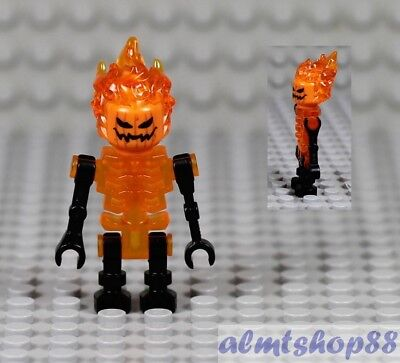 LEGO - Orange Skeleton w/ Flaming Head Hair Jack O' Lantern Halloween Minifigure