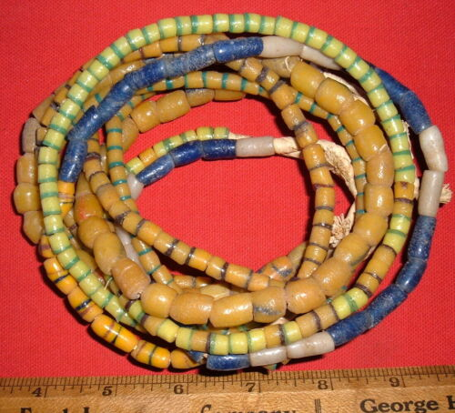 (5) Full Strands of Sand-Cast Trade Beads From Ghana, Collectible African Beads