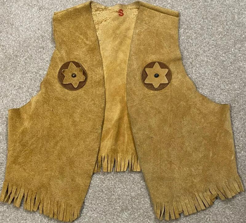 Vintage Kids Tan Leather Cowboy Vest Size Small (3/4)