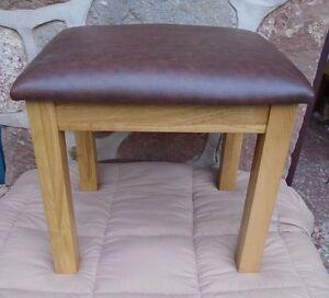 Solid oak bedroom stool dressing table stool chocolate leather Bedroom stool