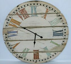 Farmhouse Rustic White Large Round 24 Inch Wood Wall Clock with Roman Numerals.