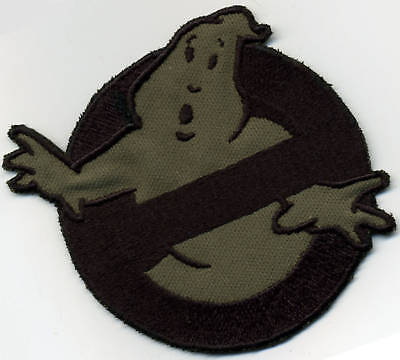 OD [olive drab]  & Black  Ghostbusters No Ghost Iron on  Patch  Od-olive Drab