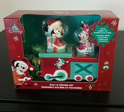 Disney Mickey & Minnie Mouse Christmas Holiday Train Salt & Pepper Set New + Box