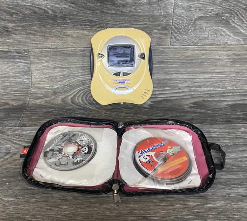 Video Now Color Yellow Personal Video Disc Player with Video Disc Lot - Tested