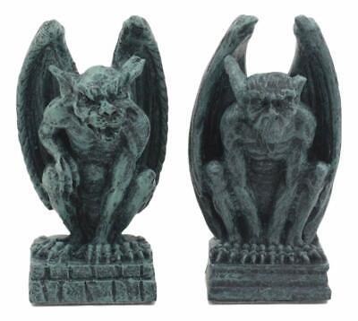 Gothic Notre Dame Guardian Mini Gargoyle Statue Set of 2 Miniature Fairy Garden