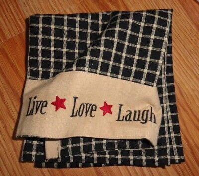 Home Collection by Raghu Live Love Laugh Kitchen Tea Towel Country Style Plaid
