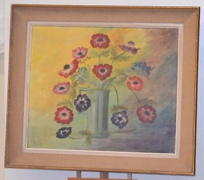 ANTIQUE PAINTING ON CANVAS STILL LIFE BOUQUET FLOWER PAINTING FRAME PANEL