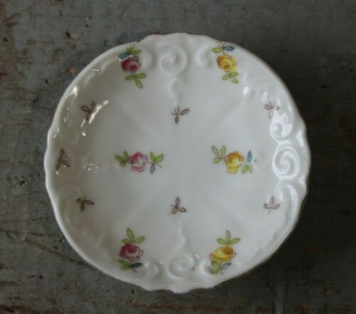 8 Victoria Austria Carlsbad Petite Pink & Yellow Roses Porcelain Butter Pats