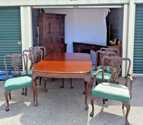 FABULOUS 9+ PIECE JOHN WIDDICOMB MAHOGANY CHIPPINDALE DINING ROOM SET, 1940