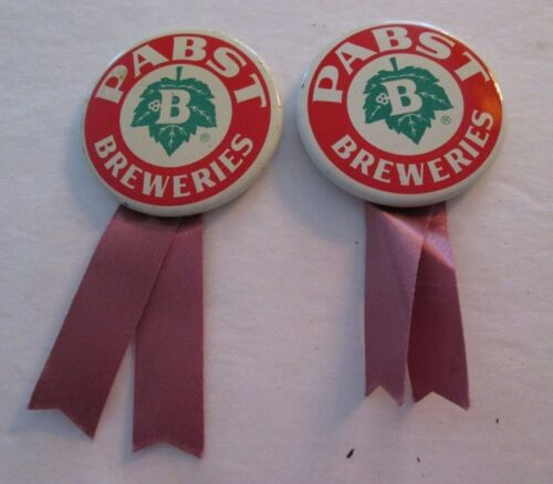 Vintage 2-Pabst Breweries Beer Pin Back Button With Ribbon Milwaukee, WI