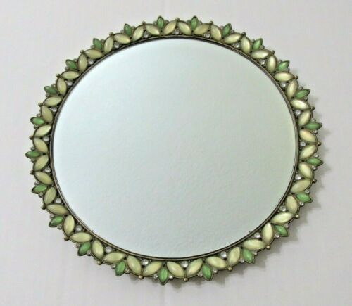"Vintage Ornate Vanity Mirror Tray Gold Round Rhinestones Jeweled Perfume 8 1/4"""