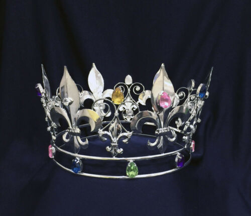 "Kings Crown Crystal Rhinestones & Color Rhinestones With Silver Plated .5"" Tall"