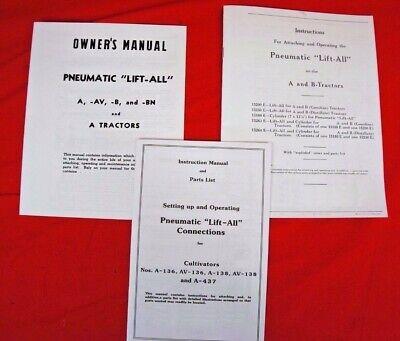 3 Manual Set Of Pneumatic Lift-all Ih Farmall A B Av Exhaust Lift Owners Parts