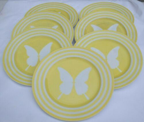 """Lot of 6 Fitz & Floyd Yellow Butterfly Dinner Plates 10"""""""