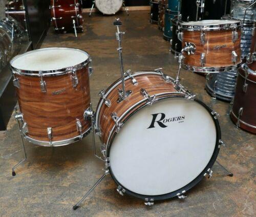 Vintage 1973 Rogers 3pc Holiday Drum Kit Shell Pack Koa