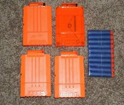 Lot Of 4 Nerf Dart Gun 6 Round Ammo box Magazine Clip N-Strike & 10 bullets