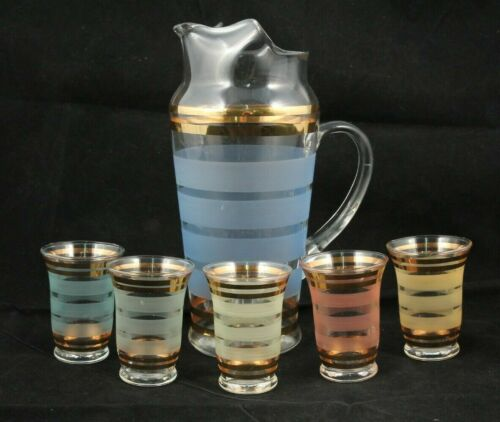 Vintage/Mid Century/Retro Cocktail Pitcher & 5 Glasses Bar Ware Collectible