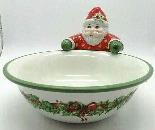 Christopher Radko/Traditions Santa Candy Dish Holly Decor Christmas Display EUC