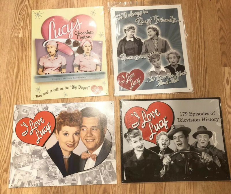 Lot Of 4 I Love Lucy Metal/Tin Sign: Chocolate Factory Ricky Brand New TV Show