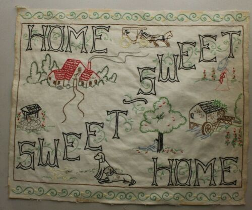 """""""Home Sweet Home"""" House Tree Hand Embroidery Needlepoint Completed Finished"""