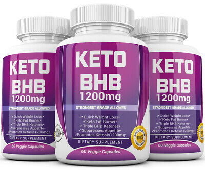 3 X KETO BHB 1200mg PURE Ketone FAT BURNER Weight Loss Diet Pills Ketosis