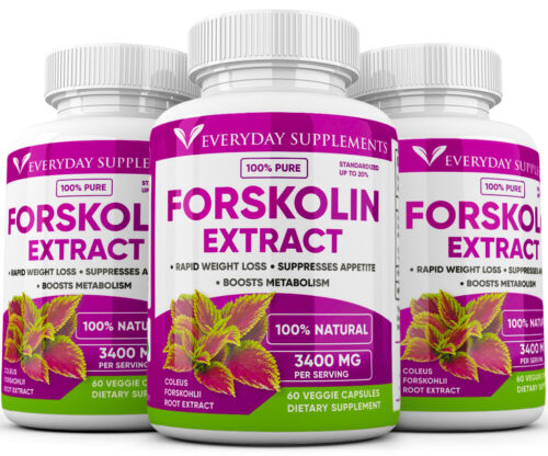 3 x Forskolin Maximum Strength 100% Pure 3400mg Rapid Results Forskolin Extract