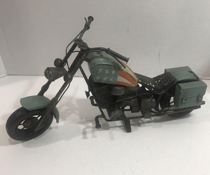 Metal Motorcycle Chopper Art Sculpture USA Flag Americana