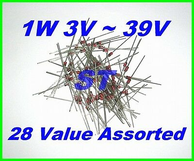 260pcs St 1w 3v 39v Zener Diode 28 Value Assorted Kit 5.1v 1n4733 12v 1n4742