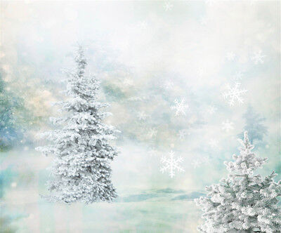 Bokeh Winter Snow Forest Snowflake Photo Studio Backdrop Background Vinyl Props