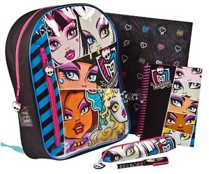 NEW Monster High Filled Backpack And Stationery Set School Rucksack Binder Bag