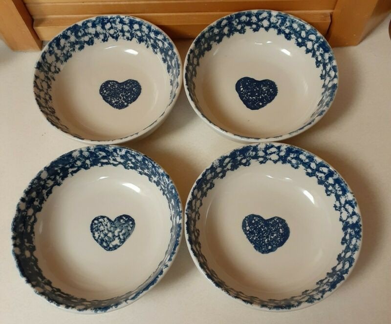 Tienshan Folk Craft Soup/Cereal Bowls Blue Hearts Sponge design Stoneware 4 pc
