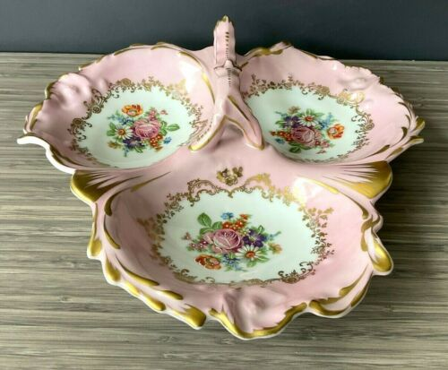 Couleuvre Limoges France Birks Pink Rose Floral Gold Lace Divided Dish w/ Handle