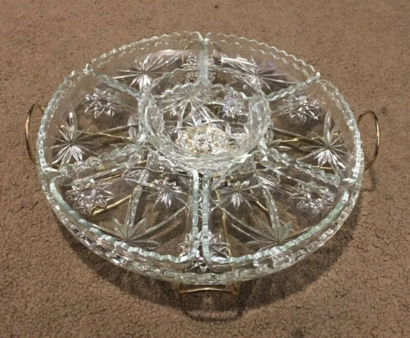 Vintage 9-Piece Lazy Susan Prescut Clear by Anchor Hocking