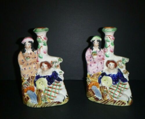 Antique Pair Staffordshire Girl and Child in Scottish Plaid Kilt Spill Vase