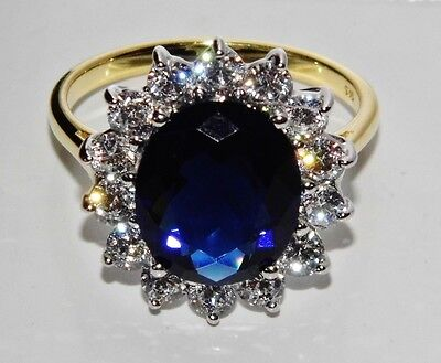 "9ct Yellow Gold & Silver Blue Sapphire ""Lady Diana"" Large Cluster Ring - size Q"