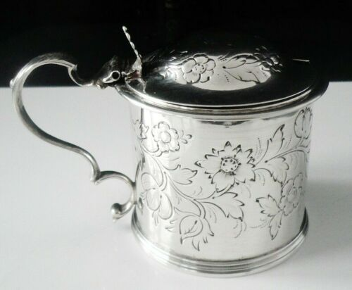 Large Antique Sterling Silver Mustard Pot, London 1839, Henry Holland
