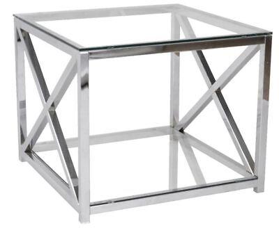 Glas Metall-beistelltisch (Beistelltisch Metall Chrom Glas 60x60x50 cm Glastisch Sofatisch Couchtisch neu)