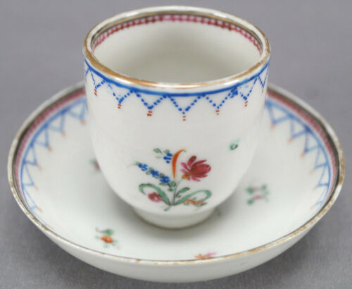 Pair of Qianlong Chinese Export Hand Painted Floral & Geometric Demitasse Cups