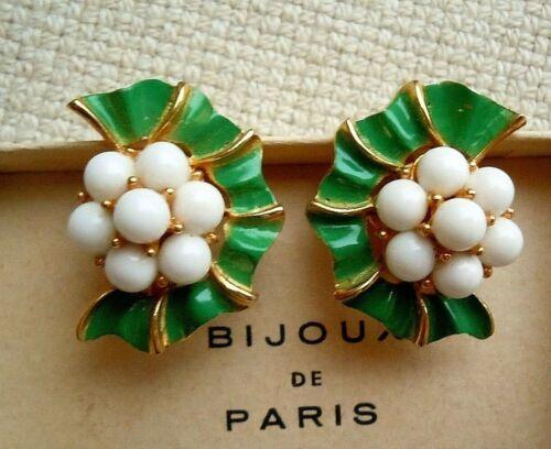 Vintage signed Trifari White Cabochon & Green Enamel Clip Earrings Estate Lot