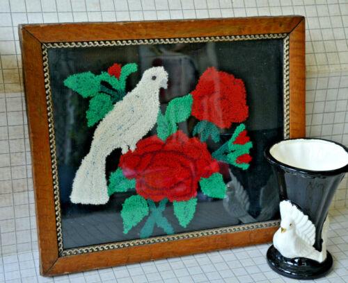Mourning Embroidery Gothic Dove Black Velvet Framed Victorian Antique ? Vintage
