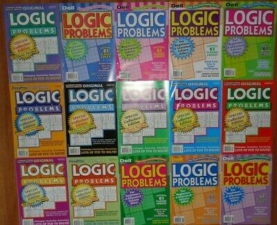 Lot of 5 Penny Press & Dell Logic Problem Puzzle Books Unsorted