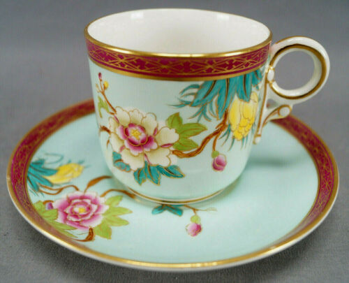 Royal Worcester Prunus Blossom  Hand Colored Floral Blue & Maroon Coffee Cup C