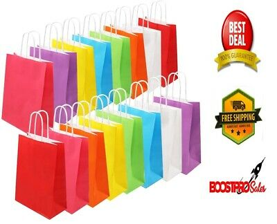 PAPER BAGS 8 Colors Party Favor 32 Pieces Colored Kraft Candy Bags with Handle