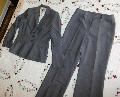 Tahari Womens Pant Suit Size 10 Blazer Pants 2pc Gray All Season Rayon Blend