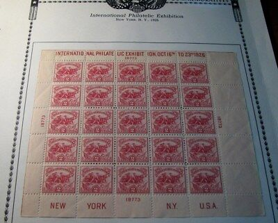 US Stamp Scott# 630  White Plains 1926  Pane of 25 MH L219