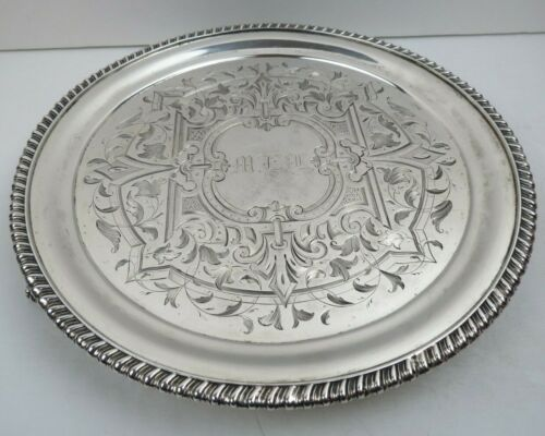 """Tiffany Antique Sterling Silver 8"""" Footed Salver Tray J C Moore And Son 1860s"""