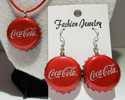 Handmade Red & Silver Coca Cola Bottle Cap Earrings & Necklace Set